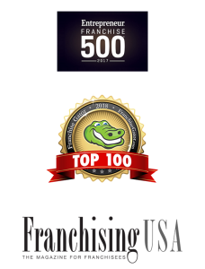 Entrepreneur Top 500, Franchise Gator Top 100 and Franchising USA Logos Listed Vertically