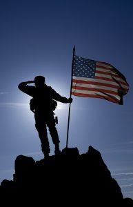 Military Silhouette with american flag