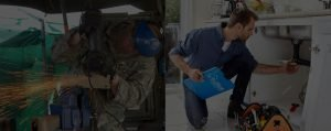 handyman under the sink and military man working